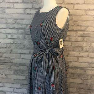 Anne Klein Navy Blue & White Gingham Dress Sz 4